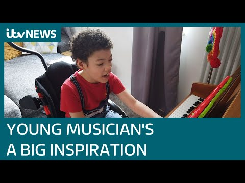 The eight-year-old with cerebral palsy raising money with his music