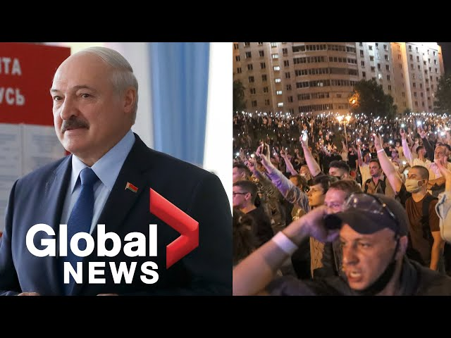 Thousands of protesters clash with police after Belarus' long-ruling president re-elected