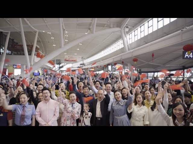 Wuhan celebrates China's National Day with creative flash mob