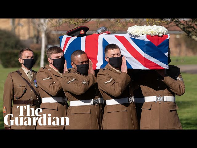 Captain Sir Tom Moore receives flypast and honour guard at funeral service