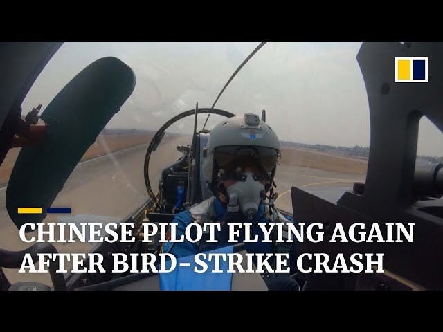 Injured Chinese pilot flying again after bird-strike that forced air force jet to crash