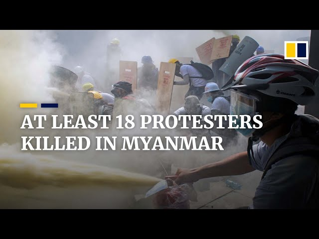 Myanmar police kill at least 18 in deadliest anti-coup protests yet, UN Human Rights Office says