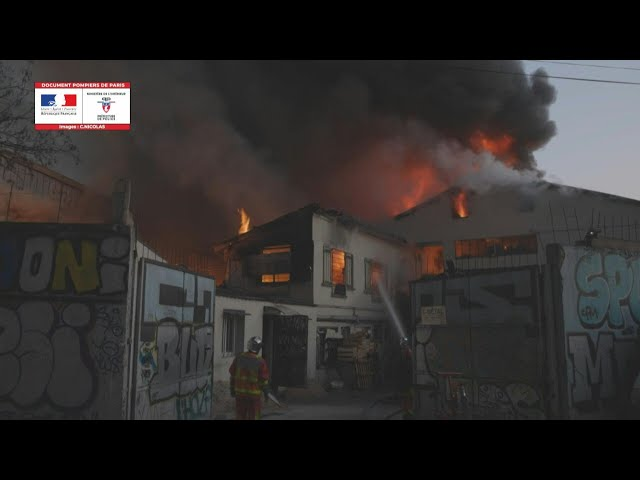 French fire brigade releases footage of major warehouse fire near Paris