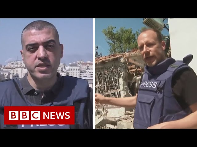 BBC reporters appear live from Israel and Gaza after 'barrage of rockets'